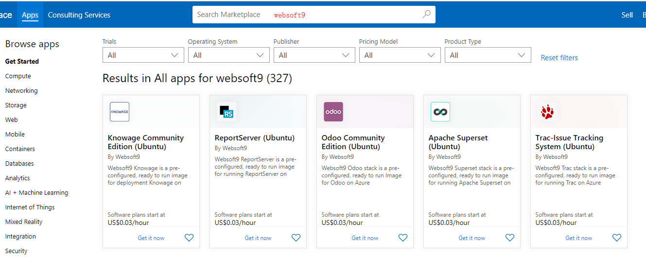 Search Websoft9 image