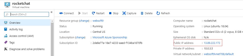 Getting IP of Azure VM